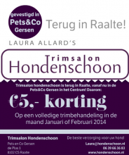 Flyer korting bij Trimsalon Hondenschoon in Petc&coGersen